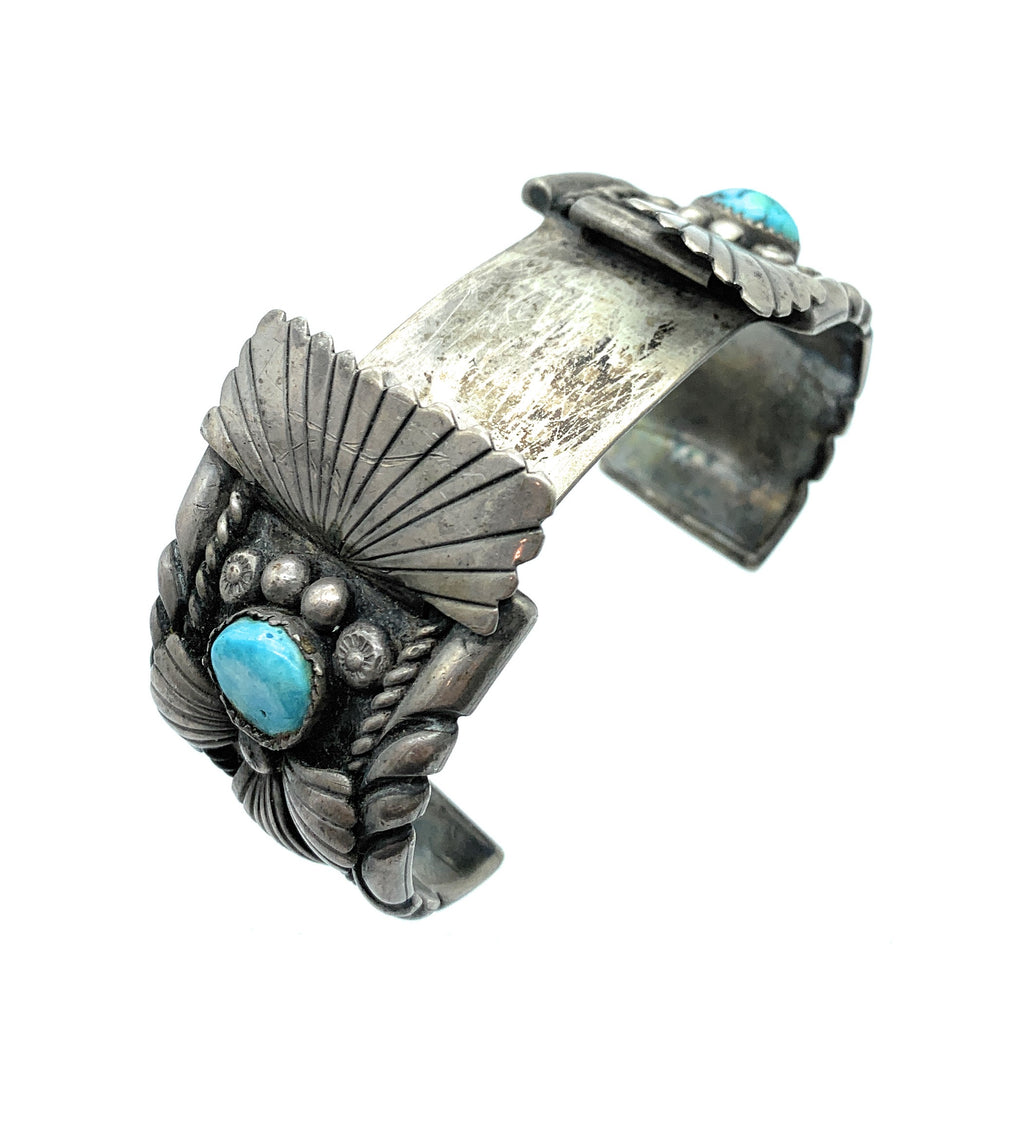 Vintage 1960s Navajo Heavy Gauge Sterling Silver Turquoise Wide Watch Cuff