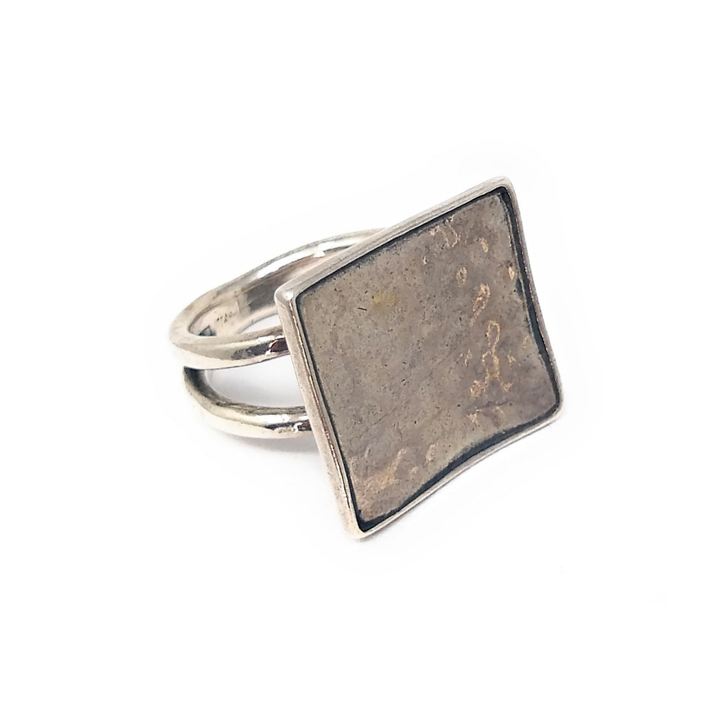 Hammered Stamped fashion ring Sterling Silver sz 6 3/4