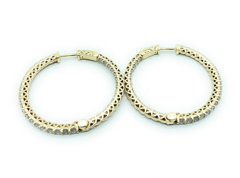 14K Yellow Gold 3.50ctw Diamond Hinged Inside Out Hoop Earrings