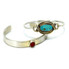 Pair of Sterling Silver Bangle Bracelets w/ Turquoise & Coral