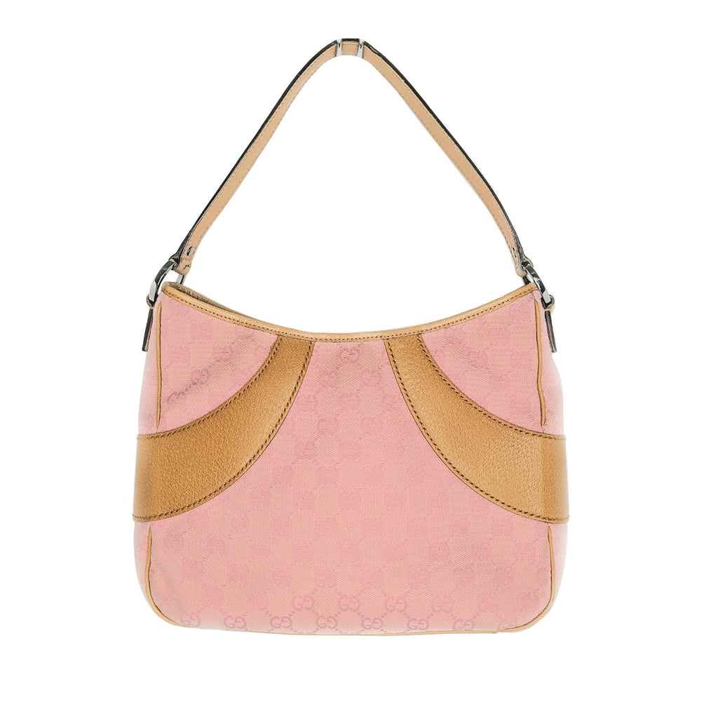Gucci GG Pink Canvas Leather Small Hobo Shoulder Bag