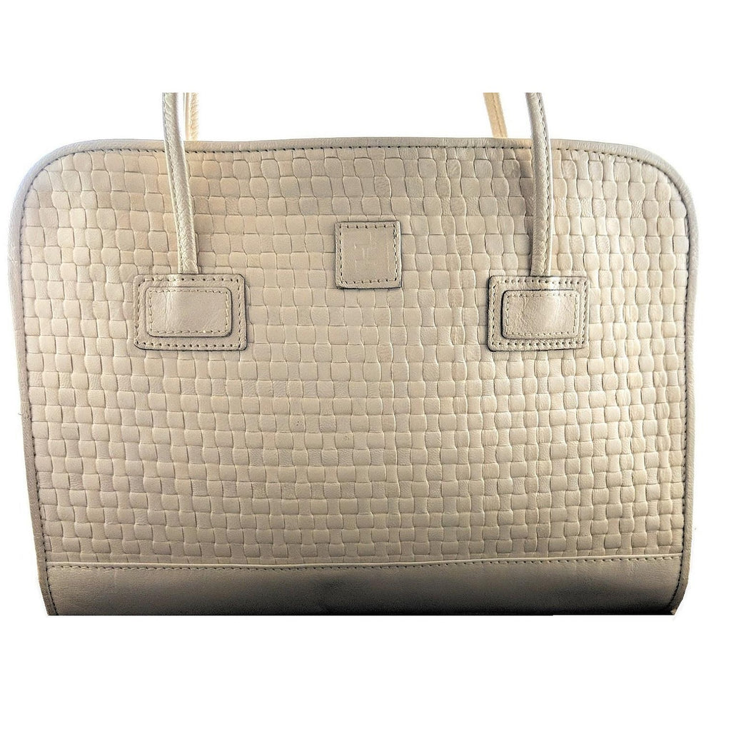 Fendi Vintage Dual Handle Woven Leather Cream Tote