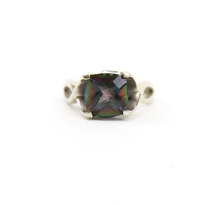 14K White Gold Ring with Checkerboard Cushion Cut Mystic Topaz in Filigree Setting