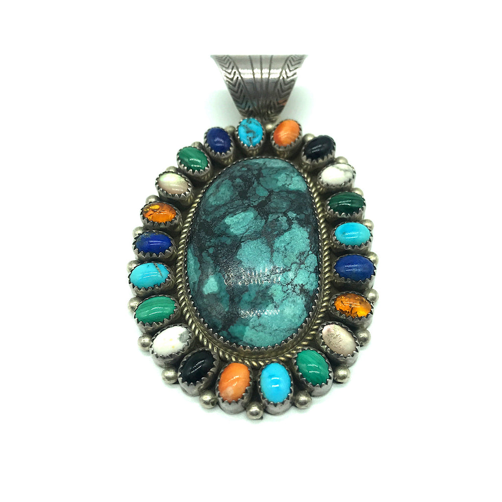 Sterling Silver Turquoise Multi-stone Pendant -Signed