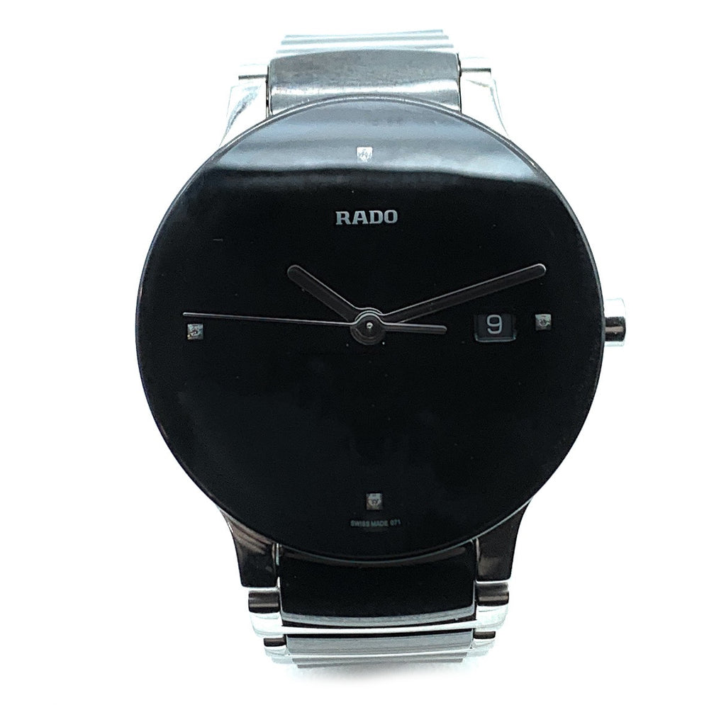 Rado Centrix Diamond Markers Black Ceramic Mens Watch