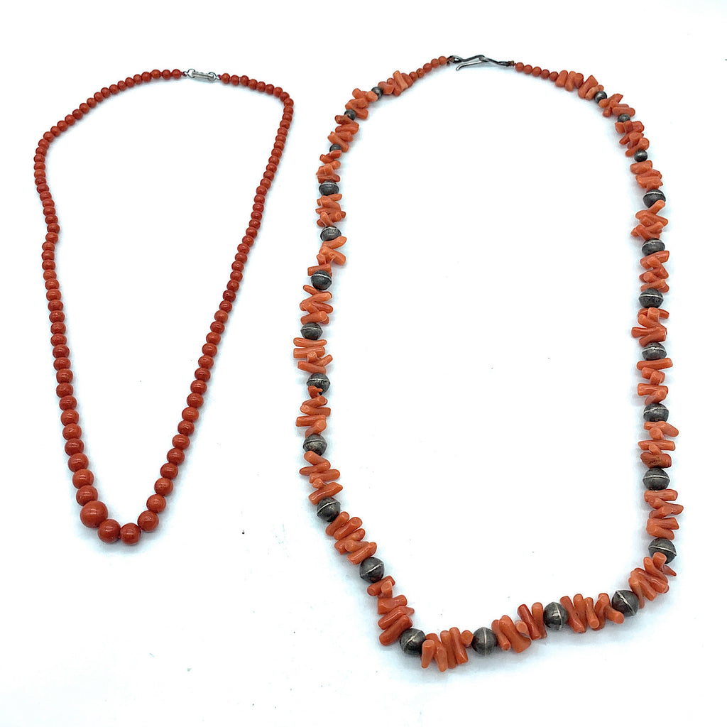 Vintage 1970's Navajo Sterling Silver Mediterranean Red Coral Bead Necklaces