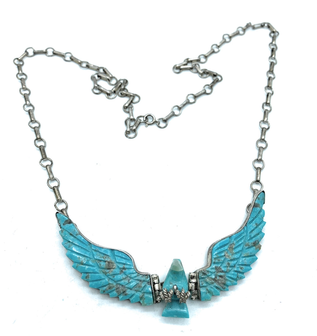 Vintage F. tom Navajo Sterling Silver & Turquoise Eagle Fetish Inlay Necklace
