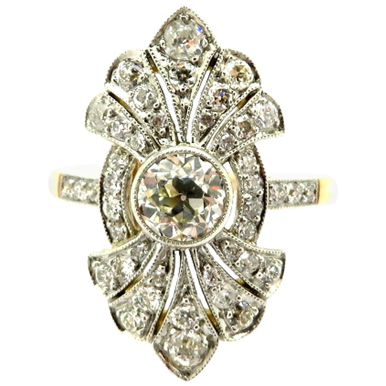 Art Deco Style Antique Old European Cut 18 Karat and Platinum Diamond Ring, Size 6.75