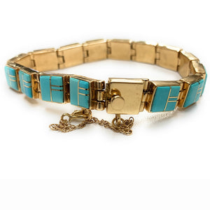 14K Yellow Gold Navajo Sleeping Beauty Turquoise Inlay Link Bracelet - Signed