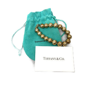 Tiffany & Co Sterling Silver 10mm Bead Ball Chain Bracelet 7.5""