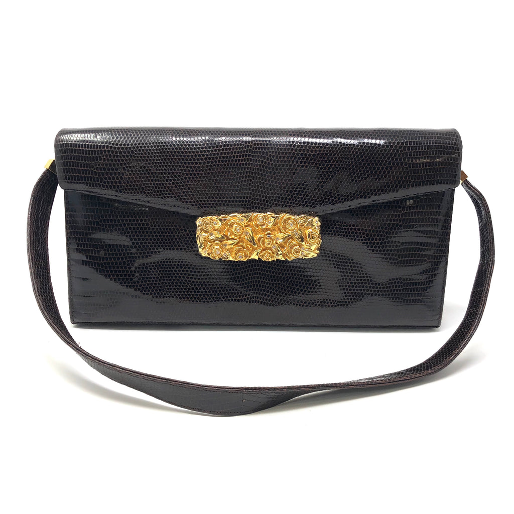 Judith Leiber Brown Snakeskin Clutch Purse Gold Rose Closure