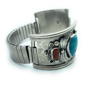 Vintage Navajo Sterling Silver Royston Turquoise & Coral Watch Tips