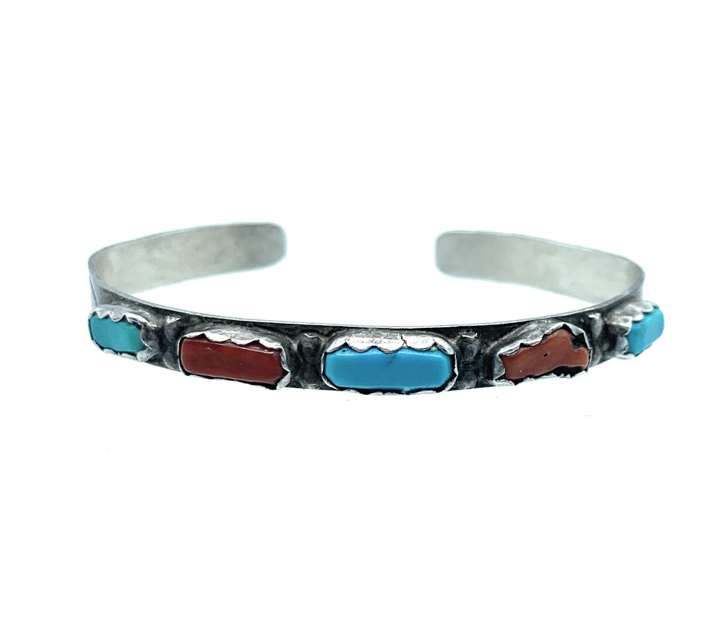 Vintage 1960's Navajo Sterling Silver Turquoise & Coral Cuff Bracelet
