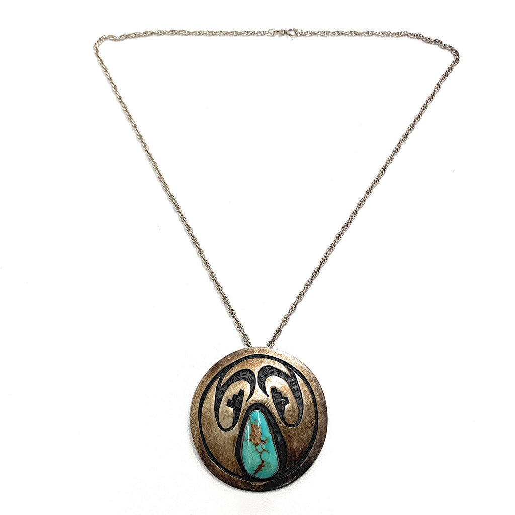 Vintage Navajo Sterling Silver & Royston Turquoise Overlay Pendant Necklace