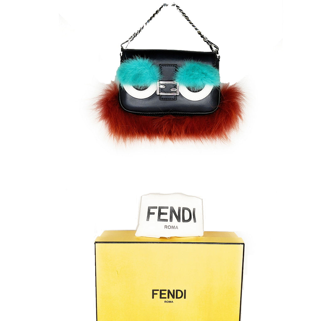 Fendi Monster Micro Baguette Leather Shoulder Handbag