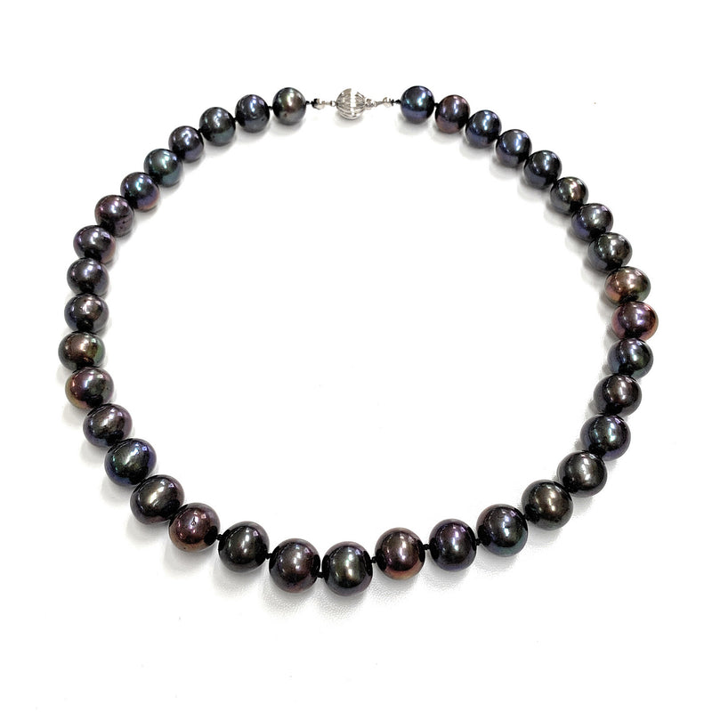 Vintage Tahitian Black Pearl Necklace & 14K White Gold Clasp - 19.5