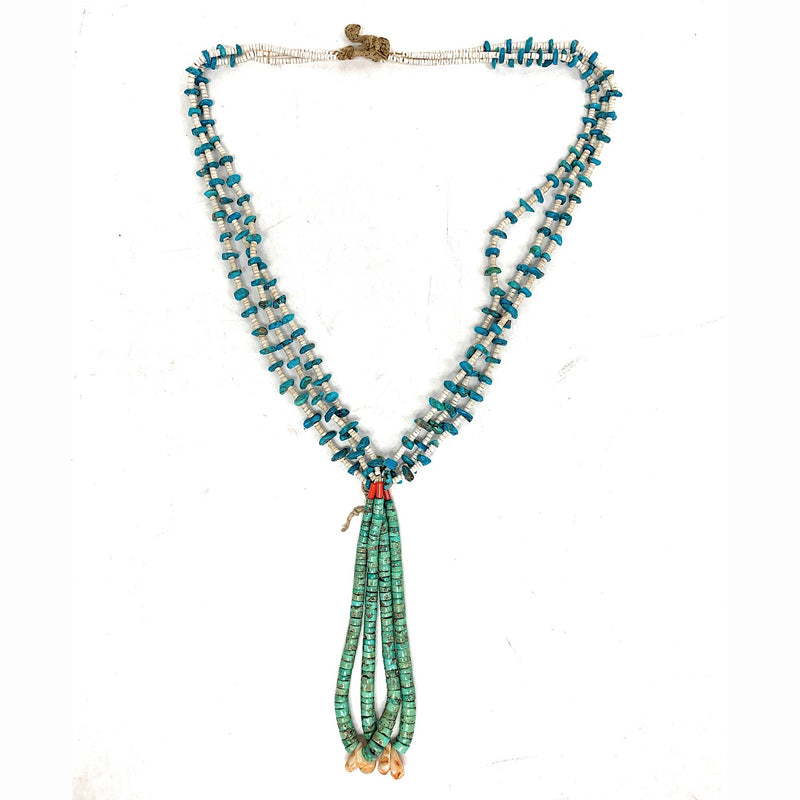 Vintage Native American Turquoise 3 strand Heishi Bead MOP & Coral Jacla Necklace