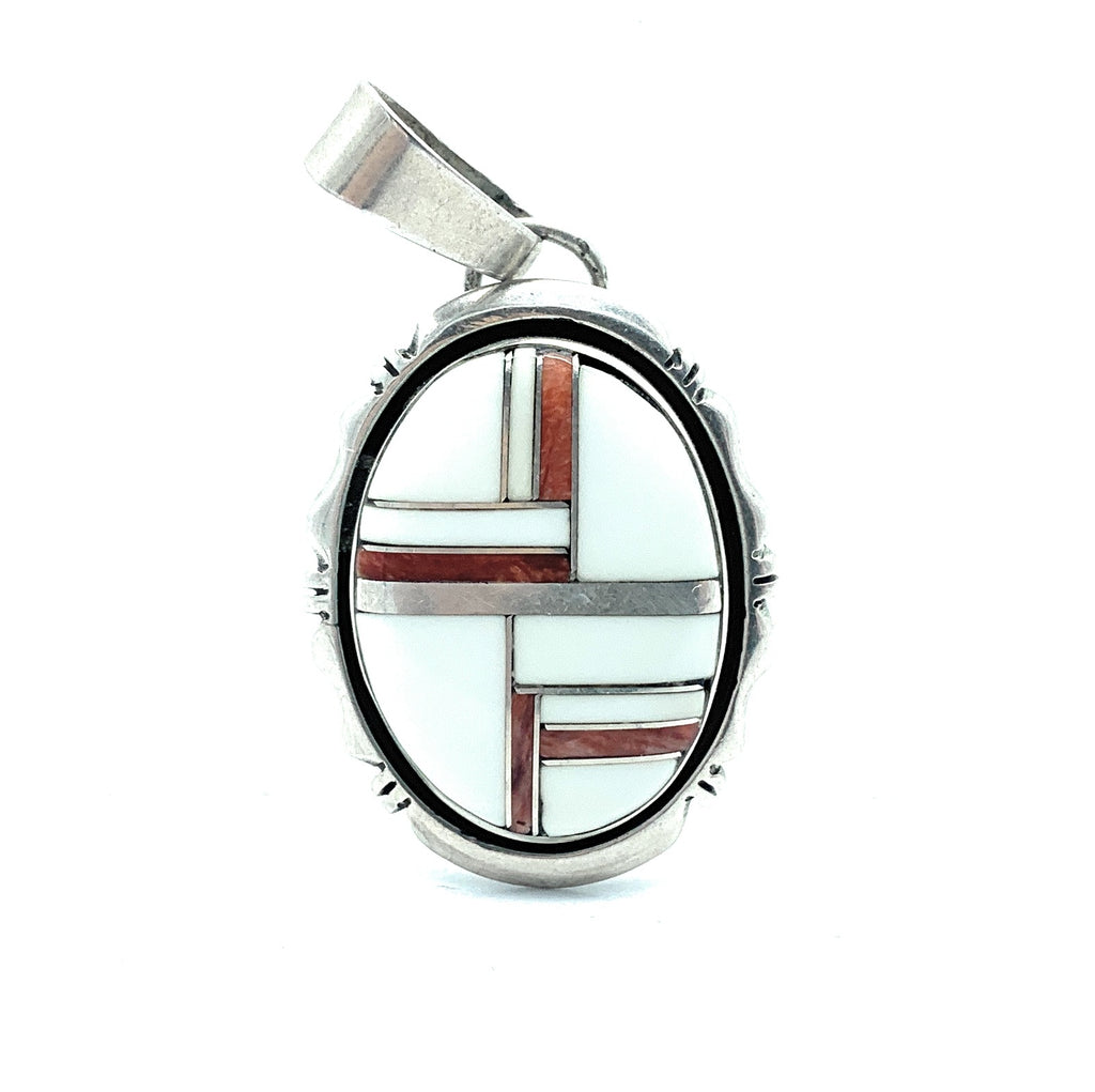 Vintage Zuni Sterling Silver White Turquoise & Coral Inlay Pendant