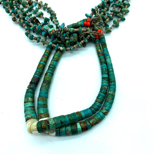 Vintage 1960s Navajo Santo Domingo Old Pawn 6-Strand Jacla Necklace