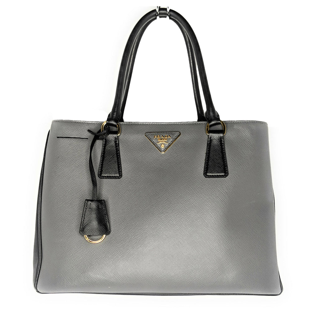 Prada Medium Saffiano Lux Tote, Gray/Black