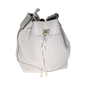 Vince Camuto White Perforated Colby Drawstring Bucket Bag