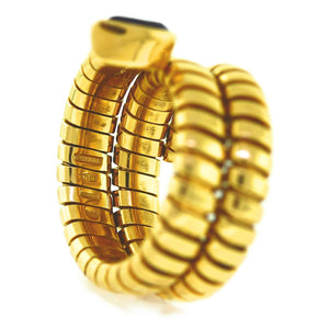 BVLGARI 18 Karat Gold Tubogas Serpenti Snake Iolite Cocktail Ring - Sz. 6