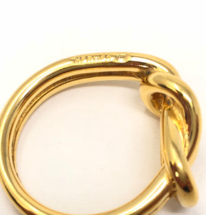 Hermes Gold Tone Woven Scarf Ring Size 9.75 In Box MHL