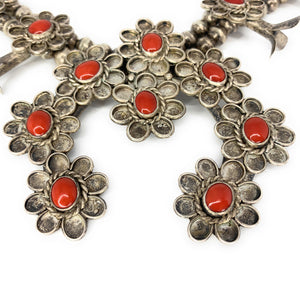 Native American Sterling Silver Red Coral Cabochon Squash Blossom Necklace