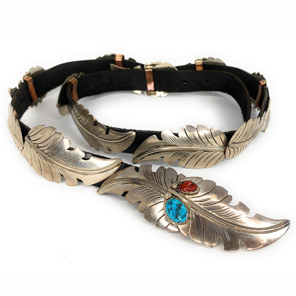 Vintage Navajo Sterling Silver Turquoise & Coral Feather Concho Belt