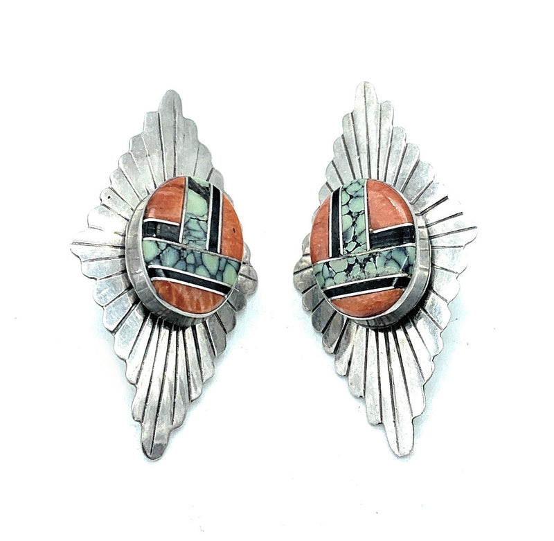 Vintage 1960's Zuni Sterling Silver Multi-Stone Inlay Post Earrings