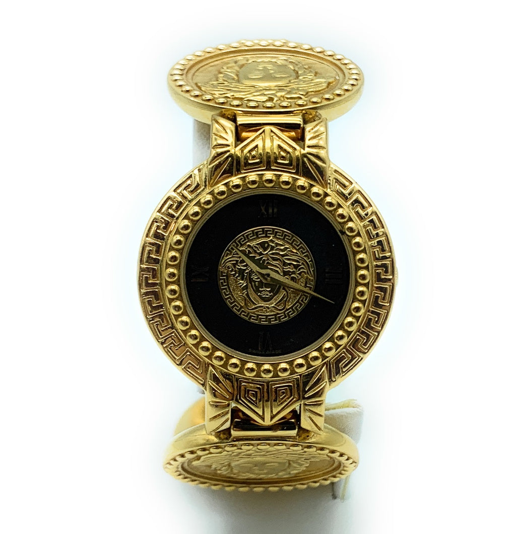 GIANNI VERSACE Signature G10 Gold-Plated Medusa Head Coin Watch