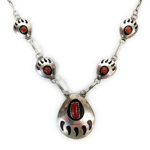 Vintage Navajo Red Coral Shadowbox Bear Paw Sterling Silver Link Necklace