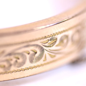 Vintage Hayward Etched 10kt Gold Filled Hinged Bangle Bracelet