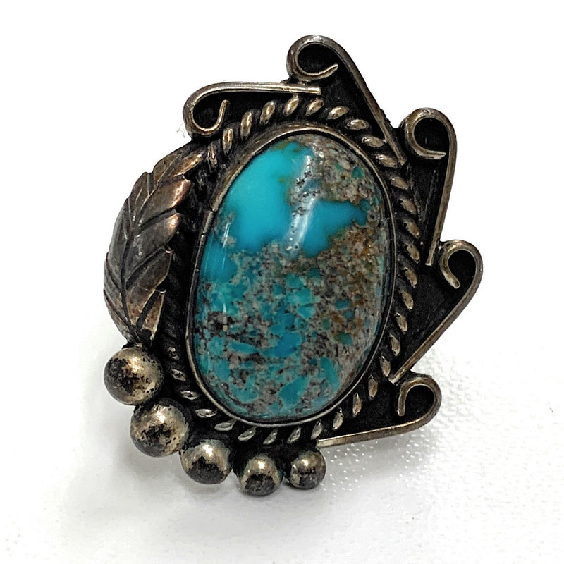 Vintage Navajo Sterling Silver & Royston Turquoise Tri-Shank Ring - Sz. 5.75