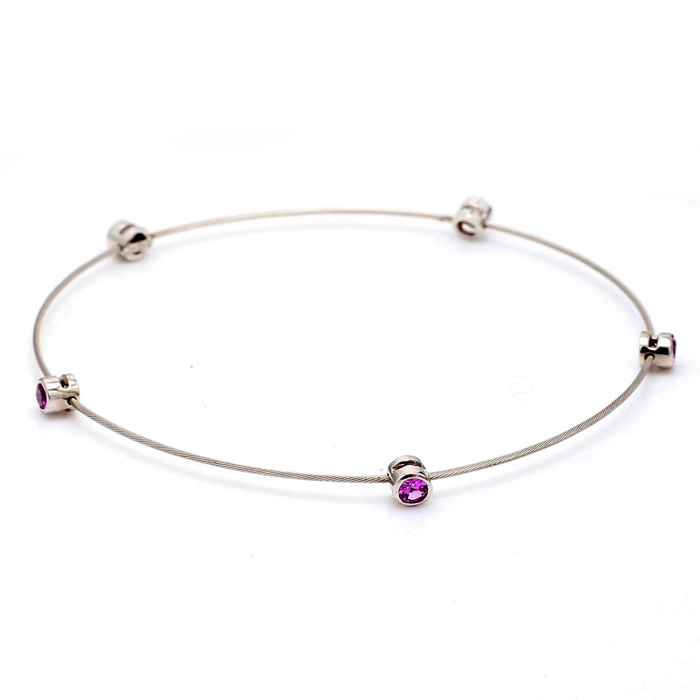 18K White Gold .33ctw Pink Sapphire Wire Bangle Bracelet