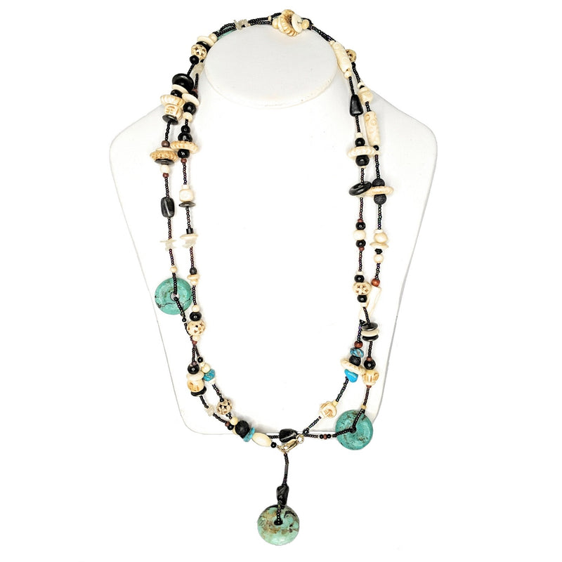 Hand Carved Wood, Turquoise and Bone Lengthy Beaded Necklace
