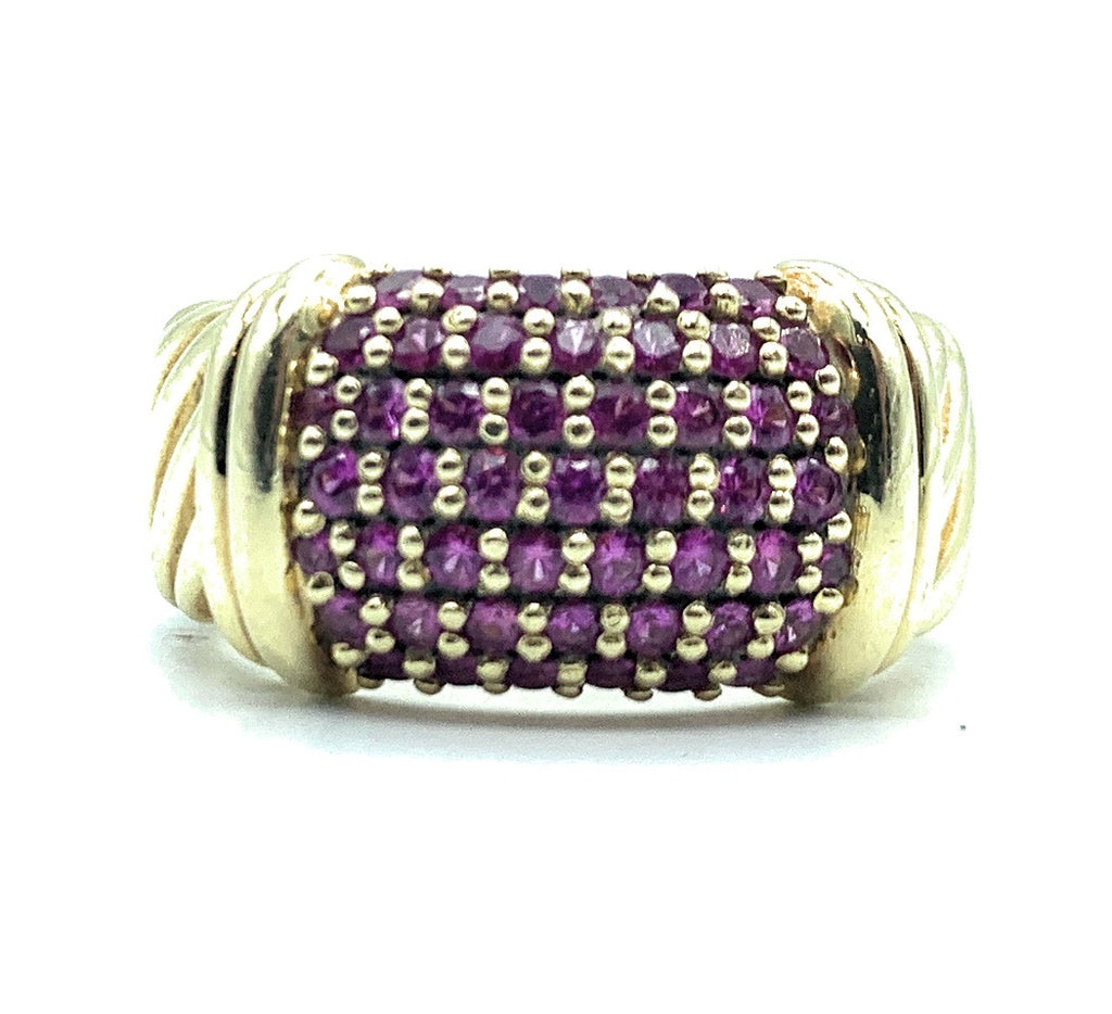 DAVID YURMAN 18K Yellow Gold 1.00ctw Ruby Pave Metro Cable Band - Sz. 6