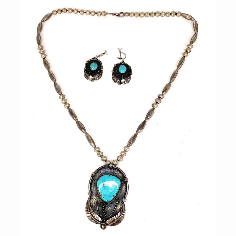 Vintage Navajo Sterling Silver Turquoise Earring & Necklace Set