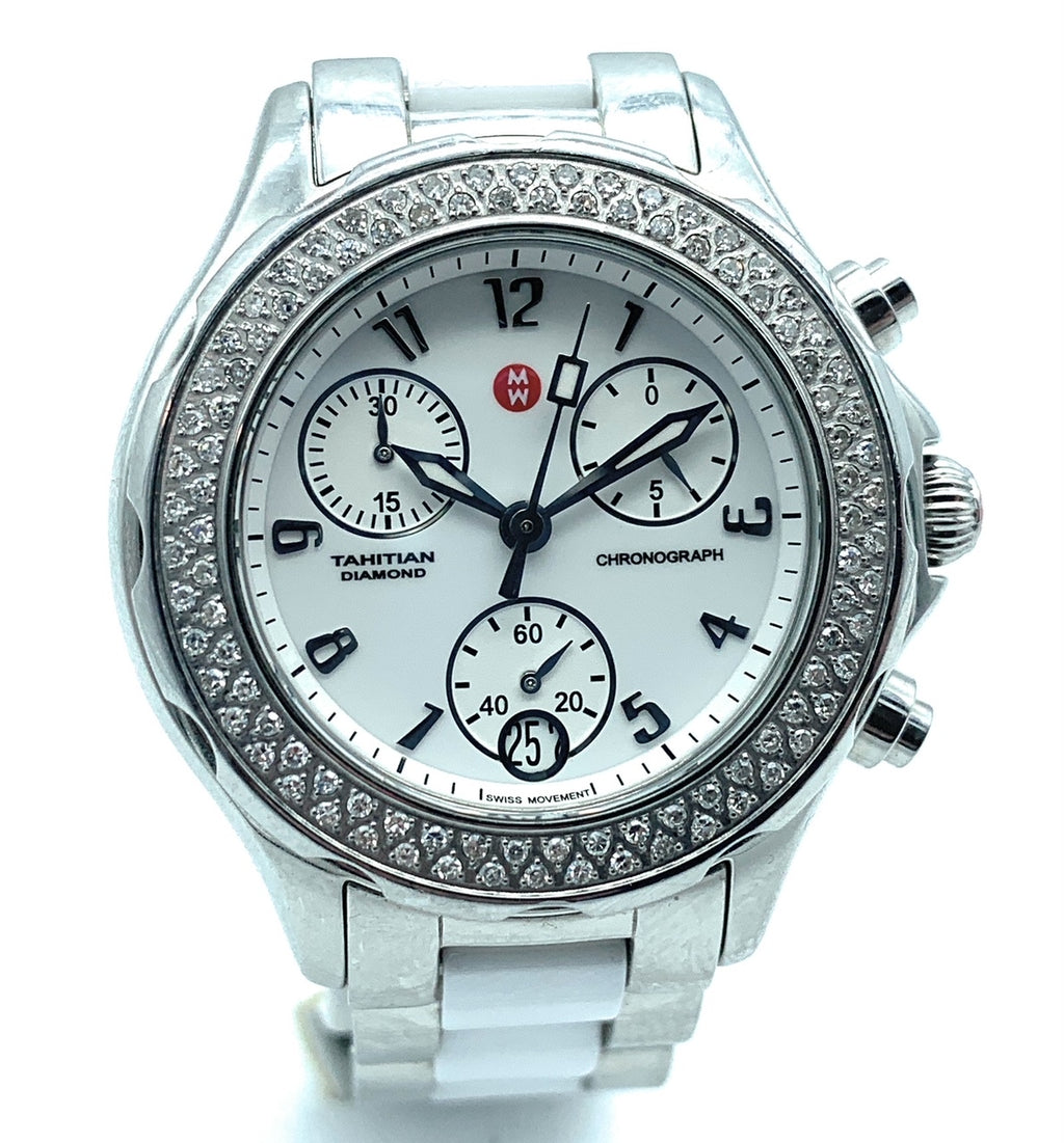 Michele Tahitian Ceramic Women's Diamond Bezel Watch - MWW12C000001