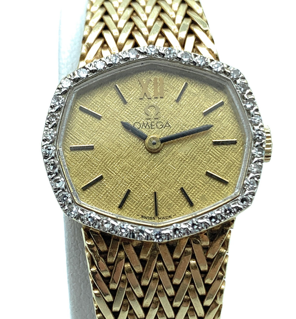 Vintage Omega 14K Yellow Gold & 0.40ctw Diamond Bezel Ladies Watch