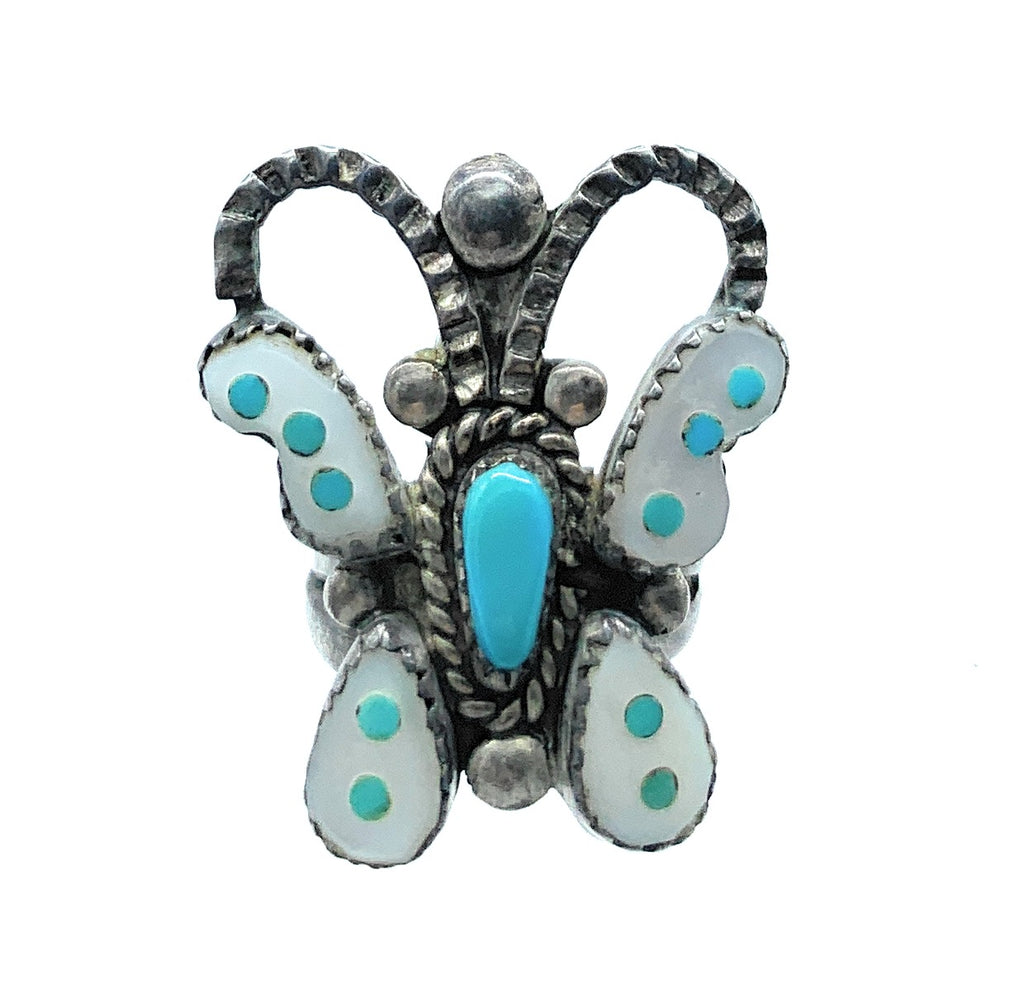 Howard Leekela Vintage Zuni Sterling Silver, Turquoise, & MOP Inlay Butterfly Ring