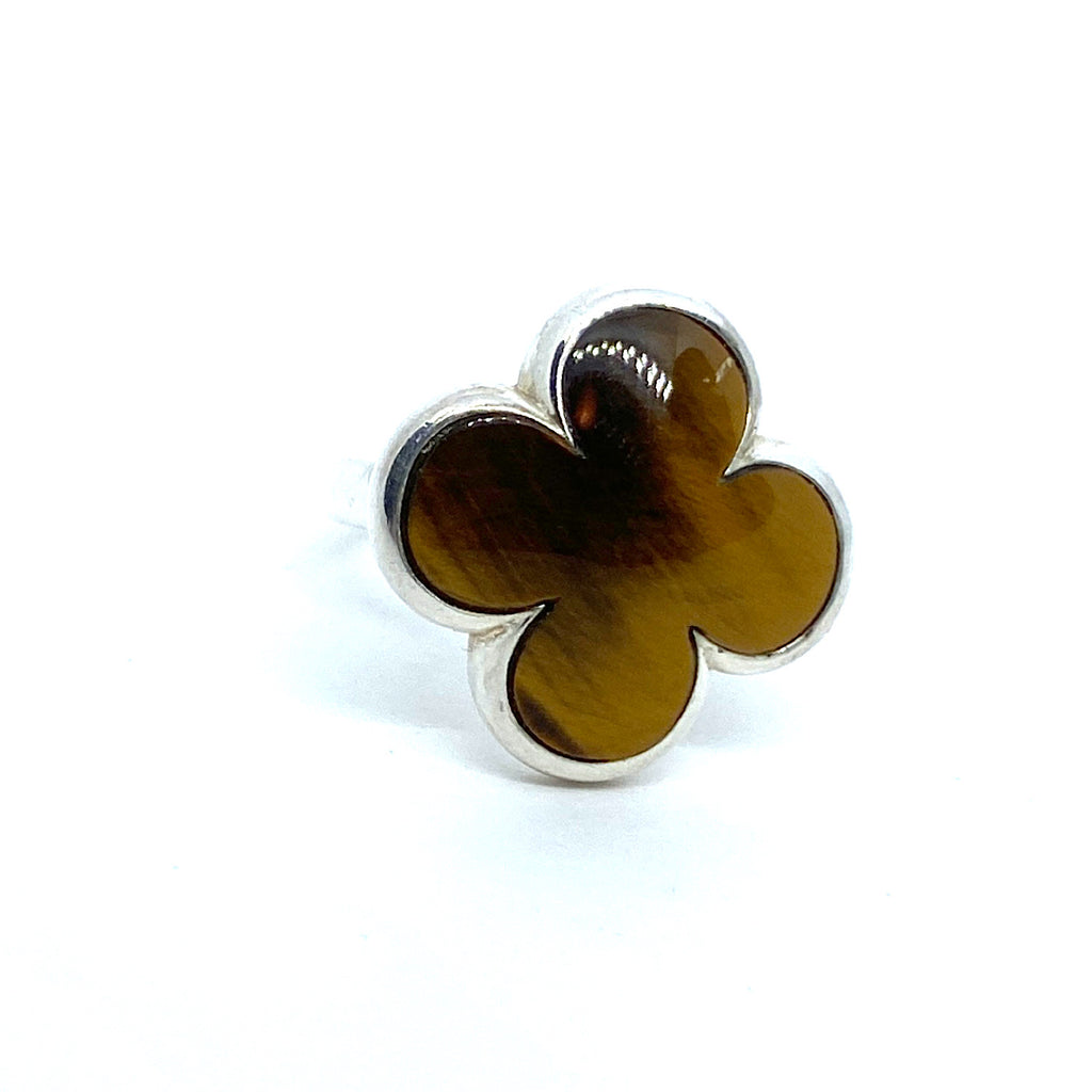 Heidi Klum Tiger eye Clover Sterling Silver Ring Size 9