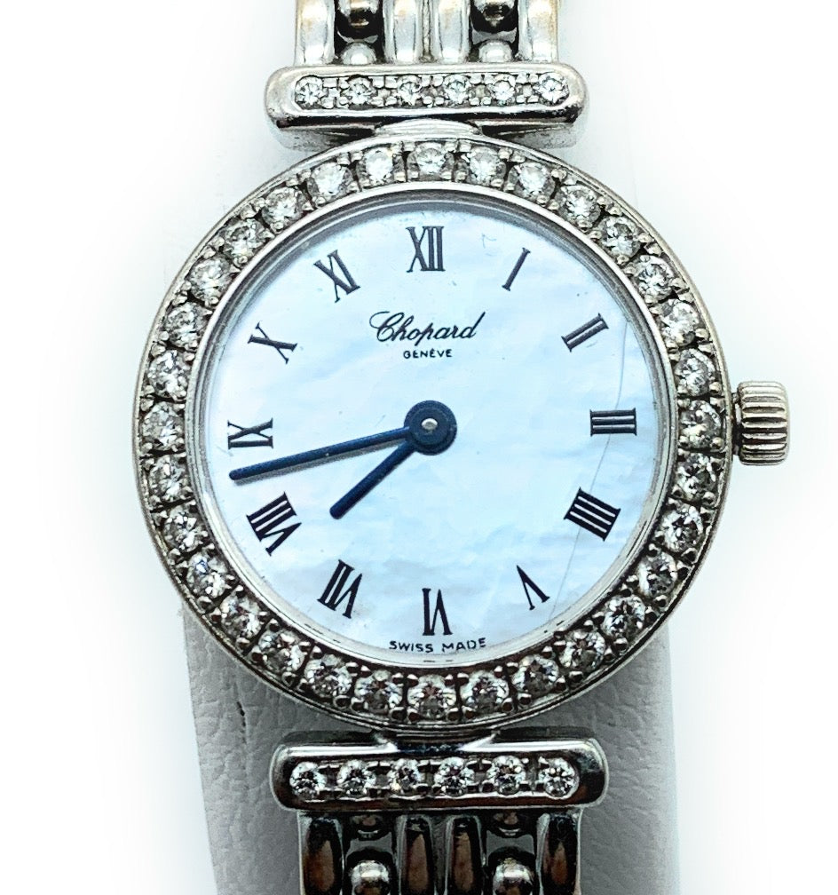Chopard Geneve 18K White Gold & 0.75ctw Diamond Ladies Watch