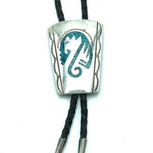 Vintage Native American Sterling Silver  Turquoise Inlay Bolo Tie -Signed