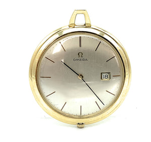 Vintage Omega 18K Yellow Gold Open Faced Pocket Watch