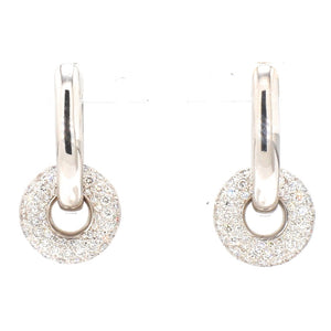 18K White Gold 1.07ctw Pavé Diamond Hinged Dangle Charm Earrings