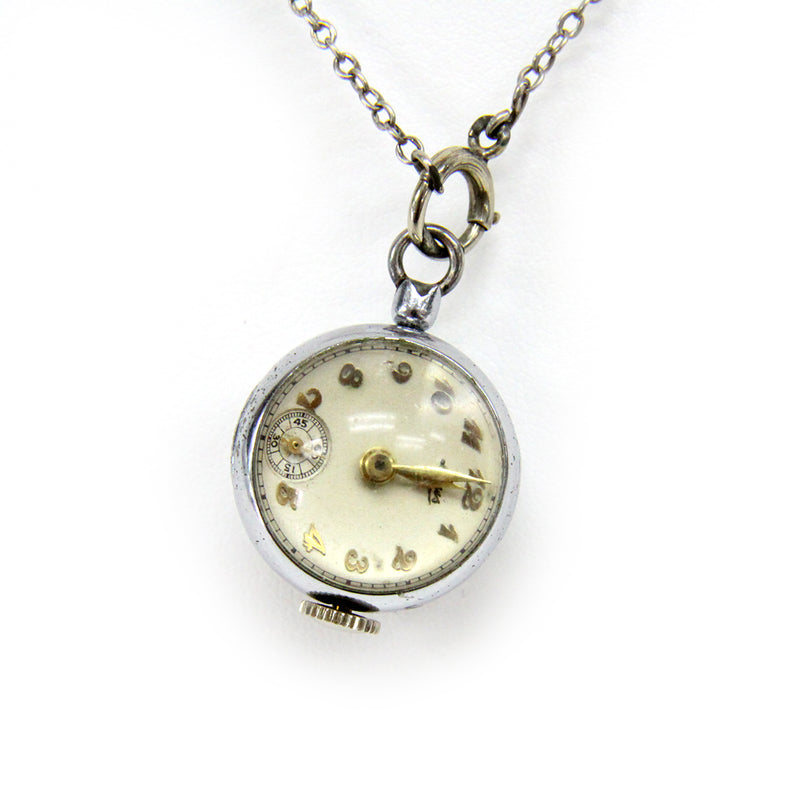 Vintage Louis Silver Tone Ladies Pendant Watch