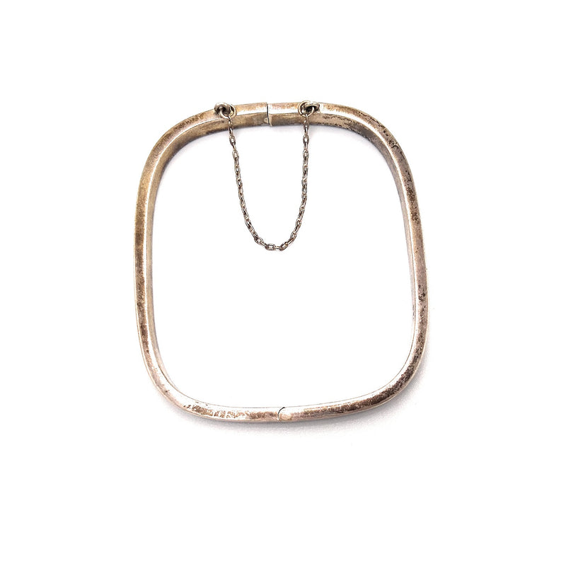 Vintage Rounded Square Chain Lock Sterling Silver Bangle Bracelet