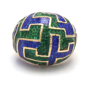 Vintage 1980's 14K Yellow Gold Blue & Green Enamel Domed Cocktail Ring - Sz. 5.25