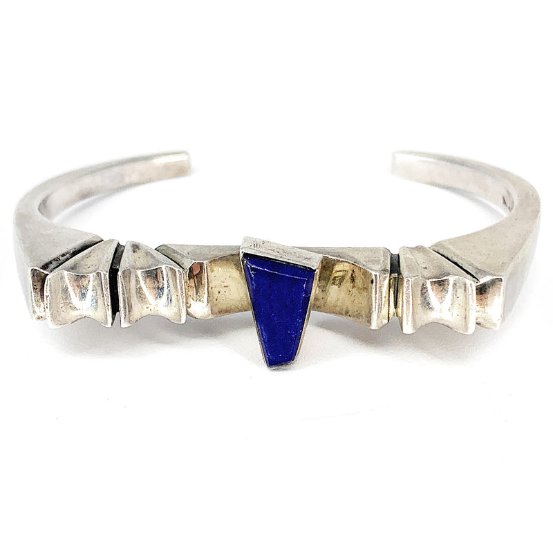 Vintage 1960's MCM Native American Sterling Silver & Lapis Lazuli Cuff Bracelet